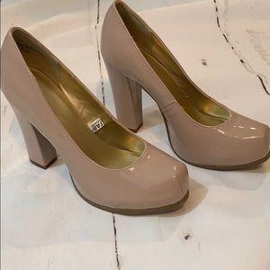 Patent leather tan heels